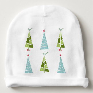 Blue and Green Christmas Slim Trees Baby Beanie