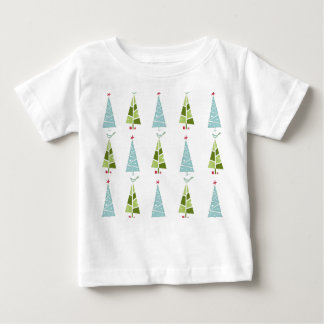 Blue and Green Christmas Slim Trees Baby T-Shirt
