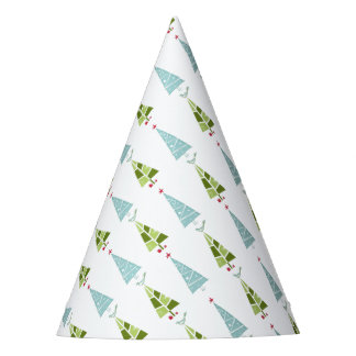 Blue and Green Christmas Slim Trees Party Hat
