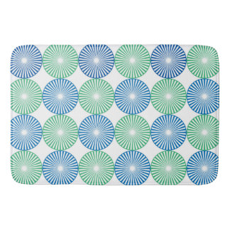Blue and green circles pattern bath mat