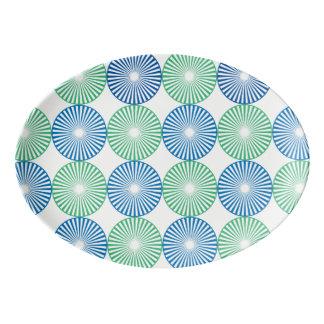 Blue and green circles pattern porcelain serving platter