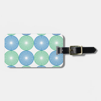 Blue and green circular design luggage tag