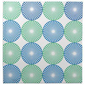 Blue and green circular design napkin