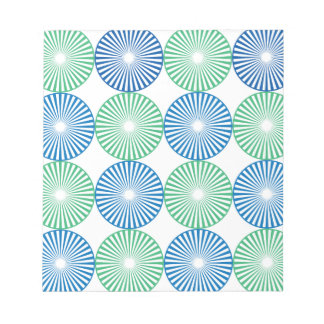 Blue and green circular design notepad
