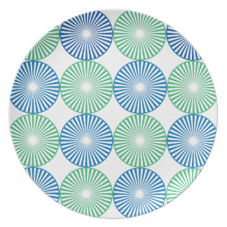 Blue and green circular design plate