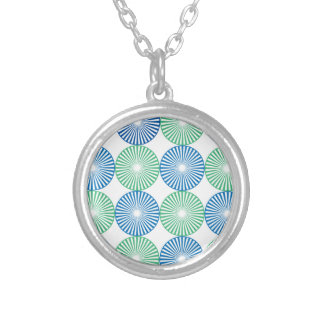 Blue and green circular design silver plated necklace