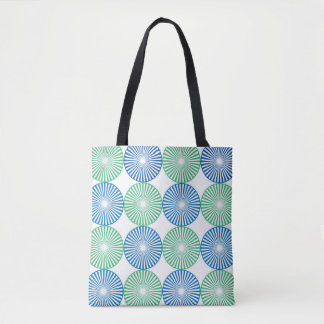 Blue and green circular design tote bag