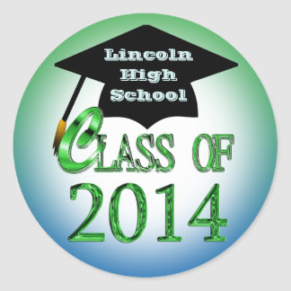 Blue And Green Class Of 2014 Graduation Stickers