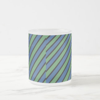 Blue and Green Diagonal Stripes Frosted Mug