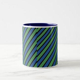 Blue and Green Diagonal Stripes Two-Tone Mug
