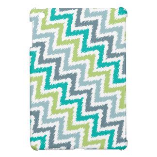 Blue and Green Diagonal Zigzag Ikat Pattern iPad Mini Cover