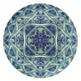 Blue and Green Earth Mandala Decorative Plate