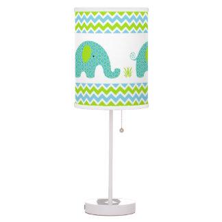 Blue and green elephant boy nursery decor table lamp