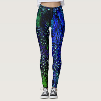Blue and green feather leggings