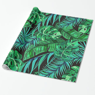 Blue and Green Ferns and Tropical Leaves Wrapping Paper