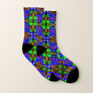 Blue and Green Floral Abstract Pattern Socks 1