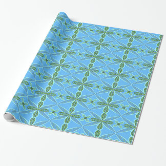 Blue and green floral art wrapping paper