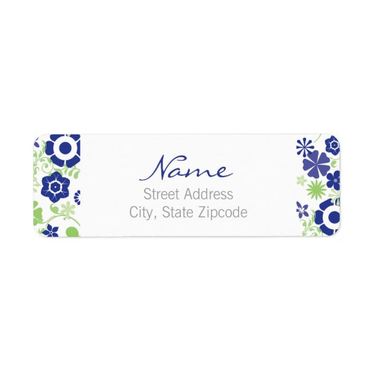 Blue and Green Floral Return Address Label