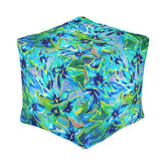 Blue and Green Floral Watercolour Pouf