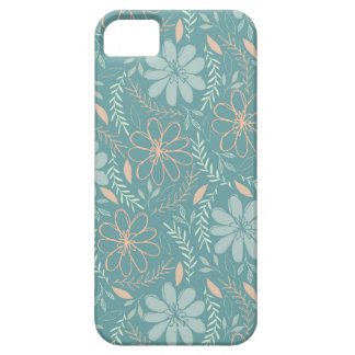 Blue and Green Flower Illustrated Pattern iPhone 5 Cases