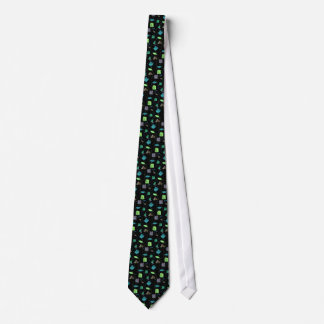 Blue and green flowers tie