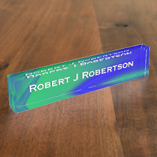 Blue and Green Flush Personal Desk Plate