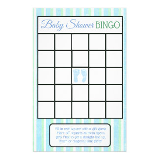 Blue and Green Footprints Boy baby shower games Flyer