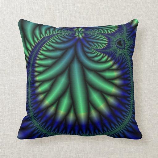 blue and green fractal art pillow