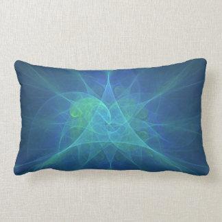 Blue And Green Fractal Lumbar Pillow