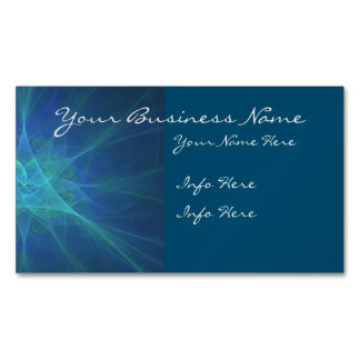 Blue And Green Fractal Magnetic Business Card