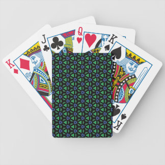 Blue and Green Geometric Patterns and Shapes Bicycle Playing Cards