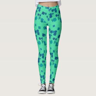 Blue and Green Geometric Shapes Leggings