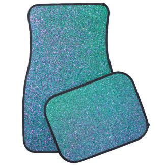 Blue and Green Glitter Floor Mat