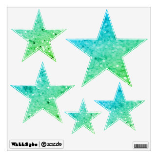 Blue And Green Glittery Look Stars: Wall Decals