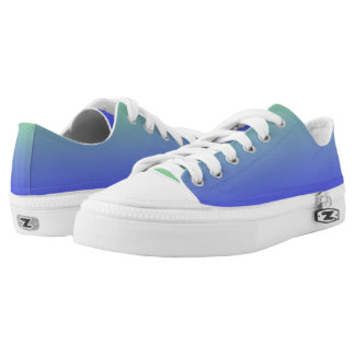 Blue and Green Gradient Colors Low-Top Sneakers