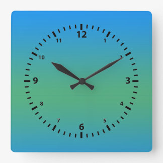 Blue And Green Gradient Square Wall Clock