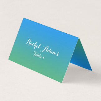 Blue And Green Gradient Wedding Place  Card