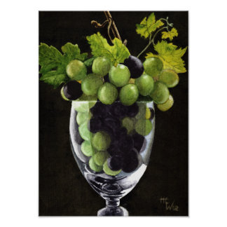 Blue and Green Grapes Poster