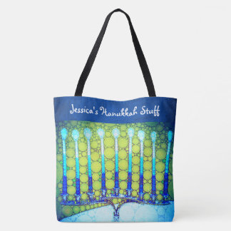 Blue and green Hanukkah menorah photo custom name Tote Bag