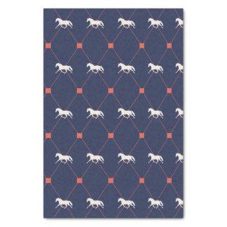 Blue and Green Harleqiun Trotting Horse Pattern Tissue Paper