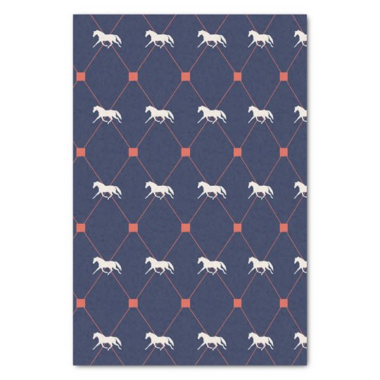Blue and Green Harleqiun Trotting Horse Pattern Tissue Paper