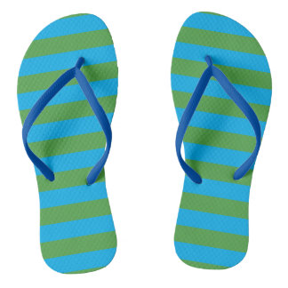 Blue and Green Horizontal Stripes Flip Flops