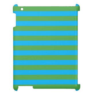 Blue and Green Horizontal Stripes iPad Case