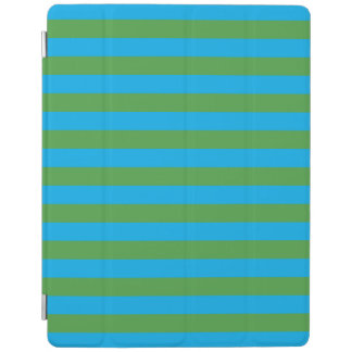 Blue and Green Horizontal Stripes iPad Cover