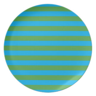 Blue and Green Horizontal Stripes Plate
