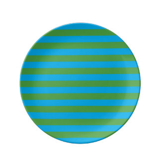 Blue and Green Horizontal Stripes Porcelain Plates
