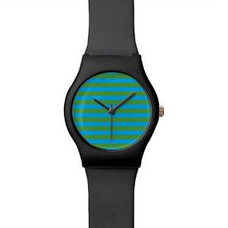 Blue and Green Horizontal Stripes Wristwatch