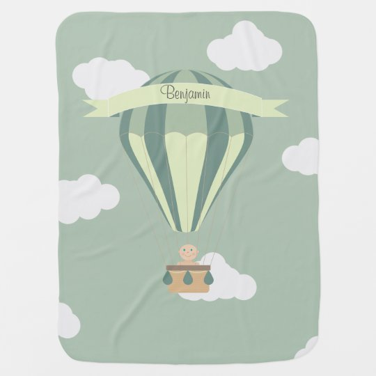 Blue and green hot air balloon personalized receiving blankets