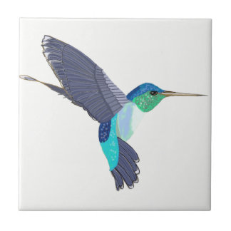 Blue and Green Humming Bird Tile