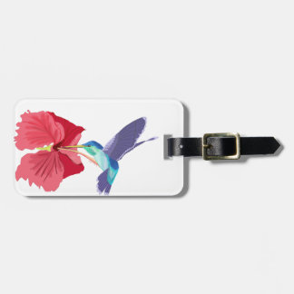 Blue and Green Hummingbird and red Hibiscus Luggage Tag